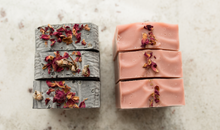Load image into Gallery viewer, Rarest Rose bar soap collection with rose petals on soaps