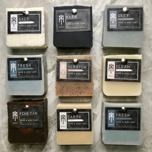 Charcoal & Rose Petals Masculine Hand & Body Bar Soap Collection