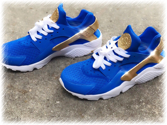 True Blue Gold Glitter Nike Huarache Customz