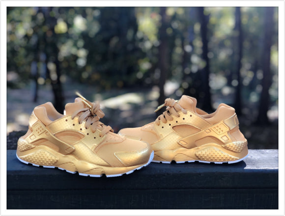 True Gold Nike Huaraches Customz