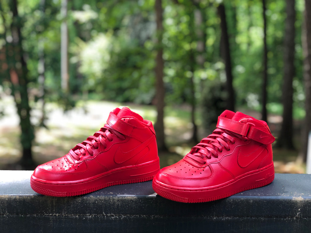 Fire Red Custom Painted Nike Mid Air Force 1