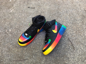 Black Rainbow Custom Painted Nike Mid Air Force 1