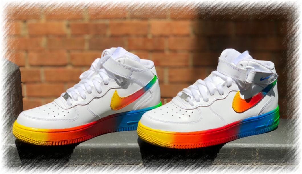 Rainbow Custom Painted Nike Mid Air Force 1