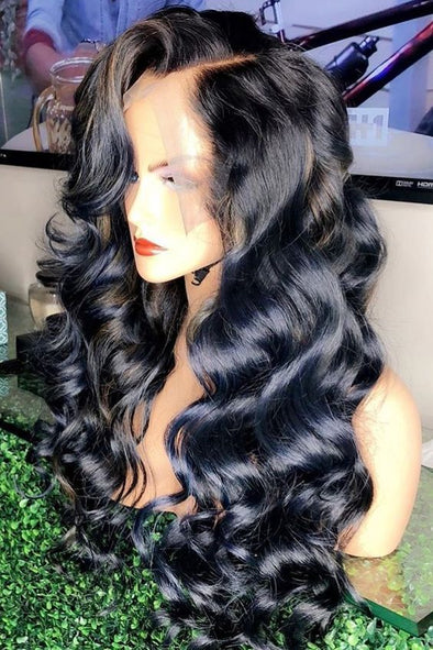 Lace Front Black Wig Lace hair wigs with bangs for african american v part wig Lace hair