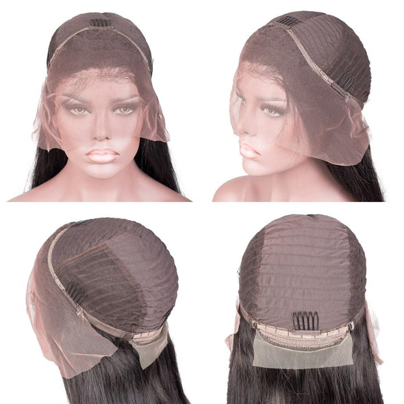 Lace Front Black Wig short black hair wig with bangs ombre 360 lace frontal with bundles