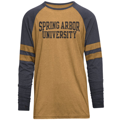 Men's Player Burnout Long Sleeve Tee, Gold/Navy