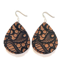 Load image into Gallery viewer, Lace Raindrop Wood Earrings in Black
