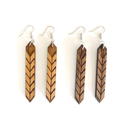 Chevron Crystal Wood Earrings