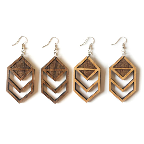 Chevron Cutout Wood Earring