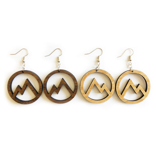 Circle Mountain Cutout Wood Earrings