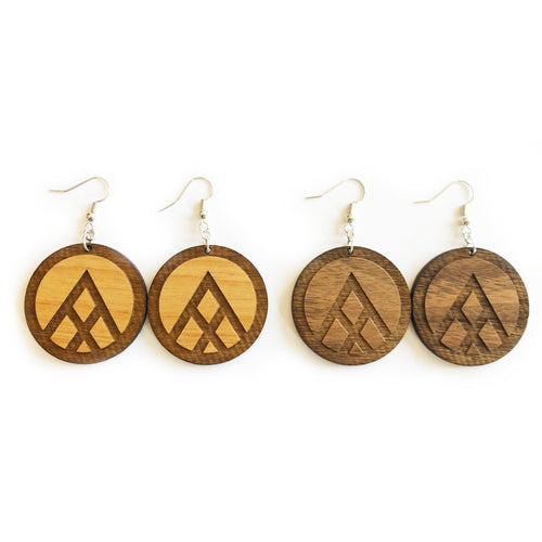 Circle Mountain Engraved Wood Earrings