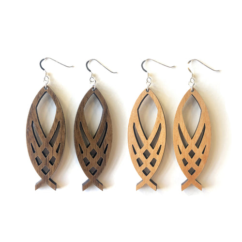 Woven Ichthys Wood Earrings