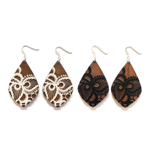 Lace Petal Wood Earrings