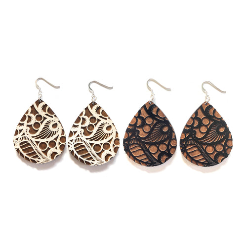 Lace Raindrop Wood Earrings