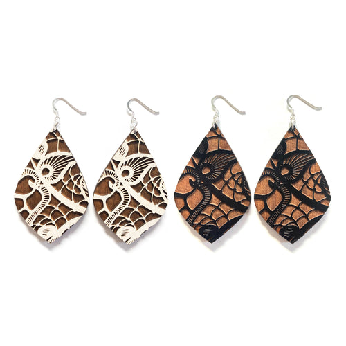 Lace Teardrop Wood Earrings