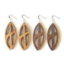 Load image into Gallery viewer, Pinched Oval Cross Wood Earrings