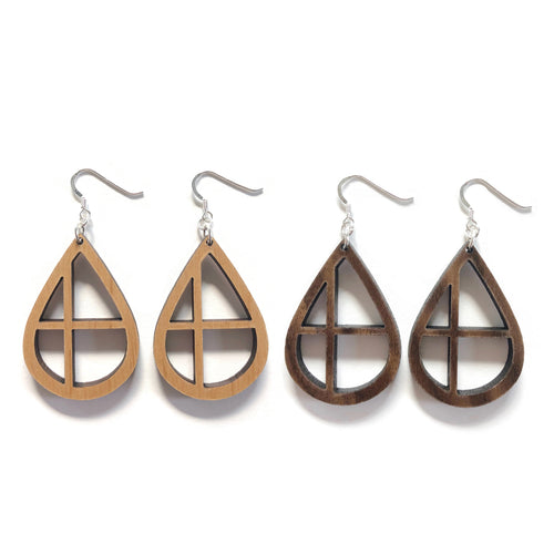Teardrop Cross Wood Earrings