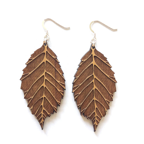 Dark Engraved Leaf Wood Earrings