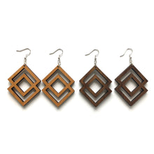 Load image into Gallery viewer, Double Diamond Wood Earrings