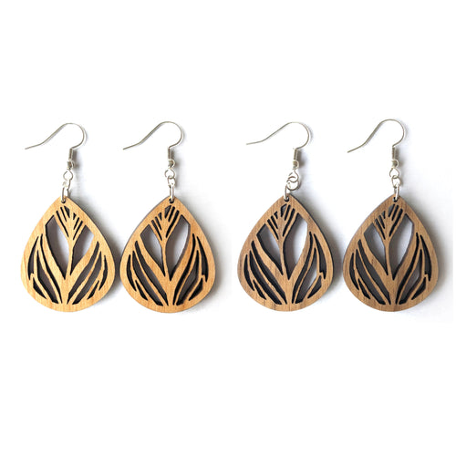 Feather Cutout Wood Earrings
