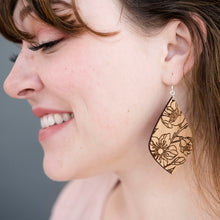 Load image into Gallery viewer, Floral Teardrop Wood Earrings