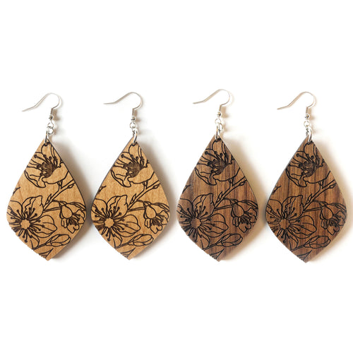 Floral Teardrop Wood Earrings