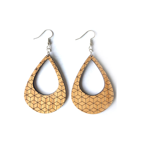 Geometric Lobe Wood Earrings