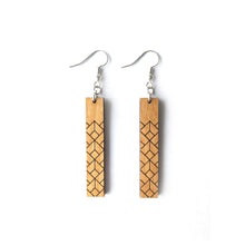Load image into Gallery viewer, Geometric Rectangle Wood Earrings