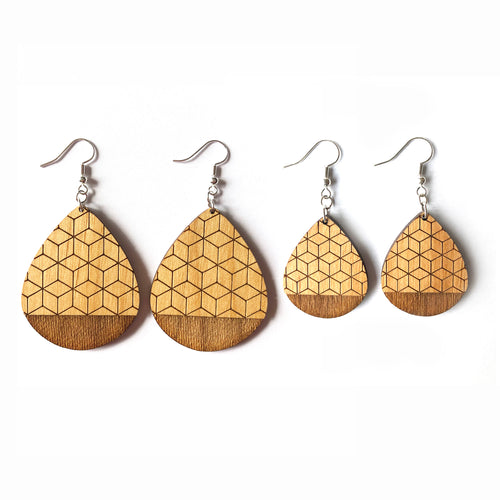 Geometric Teardrop Wood Earrings