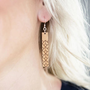 Geometric Rectangle Wood Earrings
