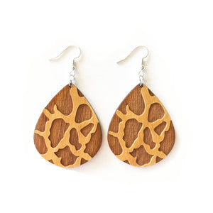 Giraffe Teardrop Wood Earrings - Alder