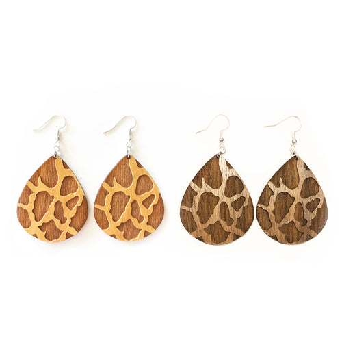 Giraffe Teardrop Wood Earrings