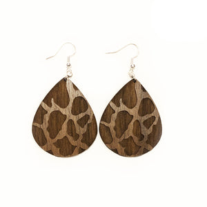 Giraffe Teardrop Wood Earrings - Walnut