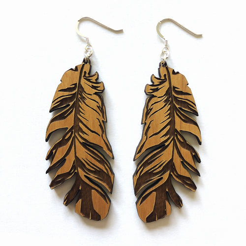 Large Feather Wood Earrings