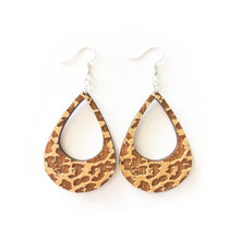 Load image into Gallery viewer, Leopard Lobe Wood Earrings