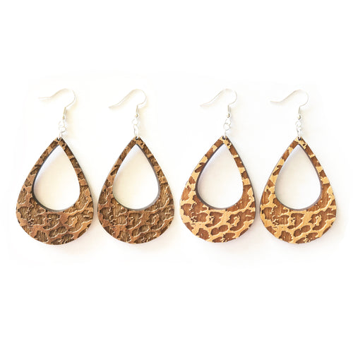 Leopard Lobe Wood Earrings