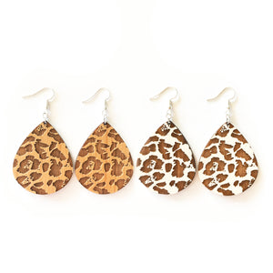 Leopard Teardrop Wood Earrings