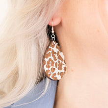 Load image into Gallery viewer, Leopard Teardrop Wood Earrings