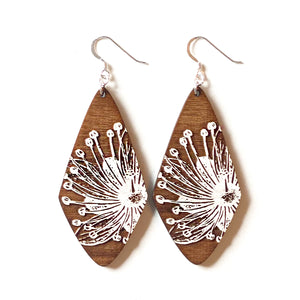 Large Diamond Sprout Wood Earrings