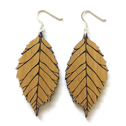 Light Engraved Leaf Wood Earrings