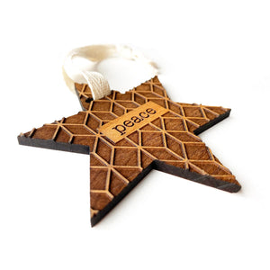 Star of PEACE Wood Ornament