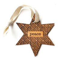 Load image into Gallery viewer, Star of PEACE Wood Ornament