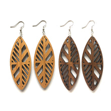 Load image into Gallery viewer, Pinched Oval Cutout Wood Earrings