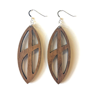 Pinched Oval Cross Wood Earrings