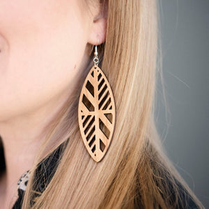 Pinched Oval Cutout Wood Earrings