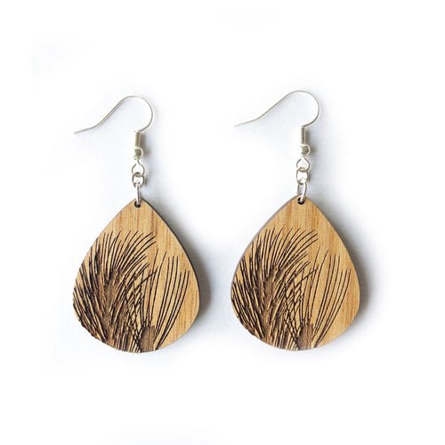 Teardrop Pine Needles Wood Earrings
