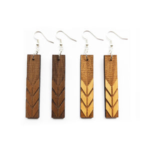 Rectangle with Chevron Engraved Wood Earrings