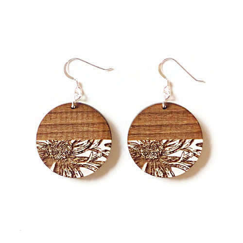 Circle Flower Wood Earrings