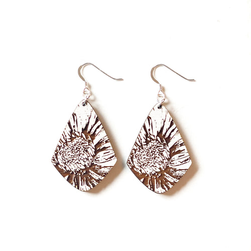 Diamond Flower Wood Earrings