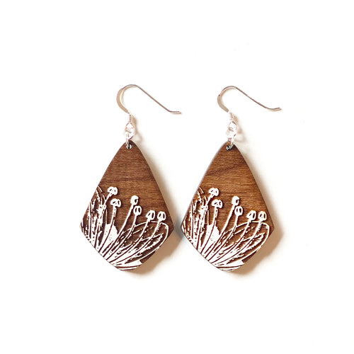 Small Diamond Sprout Wood Earrings